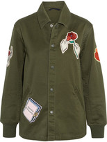 Opening Ceremony Gestures Coach Appliquéd Cotton-canvas Jacket - Army green