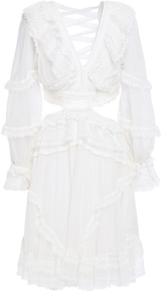 Zimmermann Lace-up Fil Coupe Silk-crepon And Crocheted Lace Dress
