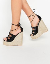 Daisy Street Ankle Tie Wedge Espadrilles
