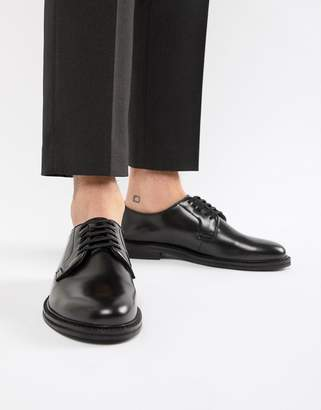 Walk London Darcy lace up shoes in high shine black