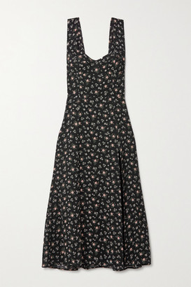 Reformation Fulton Floral-print Georgette Midi Dress - Black