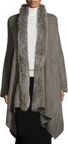 Adrienne Landau Oversized Fox Fur-Trimmed Serape, Dark Gray