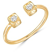 Dinh Van 18K Yellow Gold Le Cube Diamant Open Ring with Diamonds