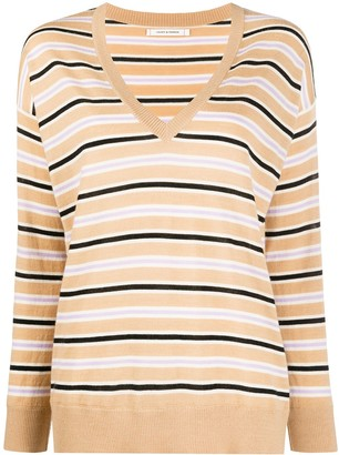 Chinti and Parker Striped Cashmere Pullover