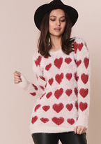 Missy Empire Kaylee Heart Print Fluffy Jumper