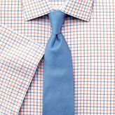 Charles Tyrwhitt Slim Fit Non-Iron Grid Check Orange and Blue Short Sleeve Cotton Dress Casual Shirt Size 16.5/Short