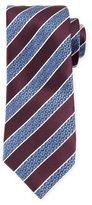 Ermenegildo Zegna Wide Striped Silk Tie, Burgundy/Silver
