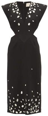 Christopher Kane Crystal-embellished Cut-out Crepe Dress - Black