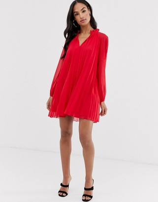 Asos Design DESIGN pleated trapeze mini dress with tie neck-Red