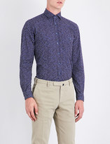 Duchamp Mens Navy Casual Tailored-Fit Cross-Pattern Shirt