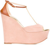 Casadei T-bar platform wedge sandals - women - Leather/Suede - 35