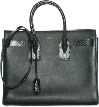 Saint Laurent Snakeskin Trim & Dark Green Leather Small Sac Du Jour