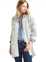 Soft open-front geo cardigan