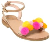Il Gufo Leather Sandals W/ Pompoms