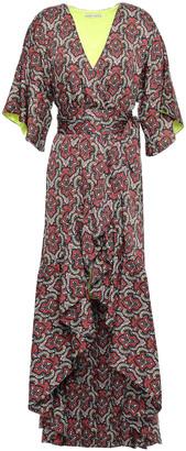 Alice + Olivia Crest Asymmetric Printed Satin Mini Wrap Dress