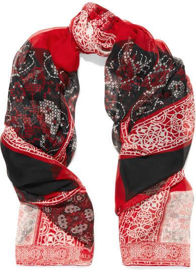 Alexander McQueen Patchwork Printed Silk-chiffon Scarf - Red
