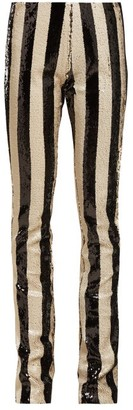 Marques Almeida Striped Sequin Kick-flare Trousers - Black White