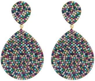 Latelita Monte Carlo Statement Teardrop Earring Multi Coloured Cz Gold