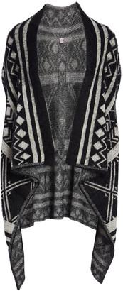 Pretty Angel Women's Ponchos BLACK/CREAM - Black & Cream Geometric Linen-Wool Blend Hi-Low Vest - Women