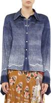 Chloé Long-Sleeve Ombre Silk Seersucker Blouse