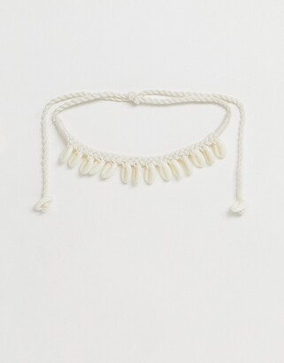 Glamorous cord shell charm necklace-Cream
