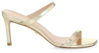 Stuart Weitzman Aleena Metallic Leather Mules