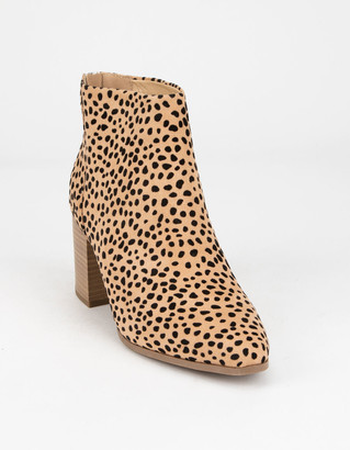 DELICIOUS Stacked Womens Cheetah Booties