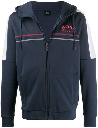 HUGO BOSS Curved Logo Zip-Up Hoodie