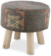 Vintage Wash Cotton & Teak Stool