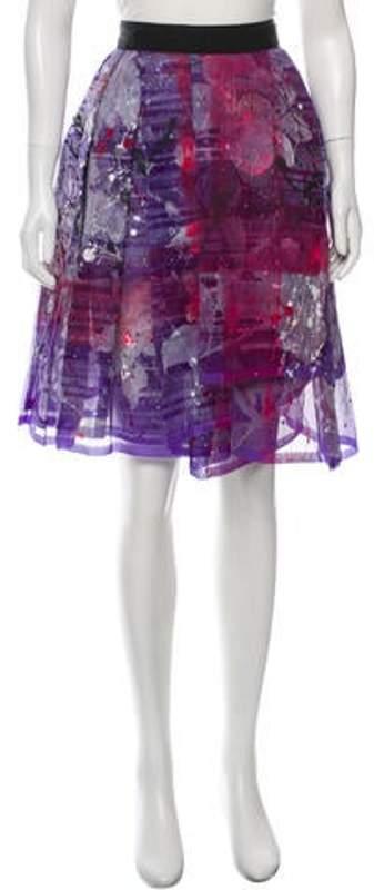 Dolce & Gabbana Silk Paint Splatter Print Skirt w/ Tags Purple Silk Paint Splatter Print Skirt w/ Tags