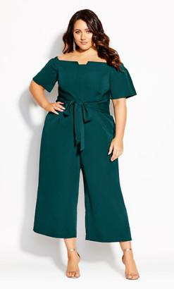 City Chic Lush Shoulder Jumpsuit - emerald