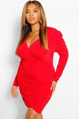 boohoo Plus Textured Slinky Wrap Bodycon Dress