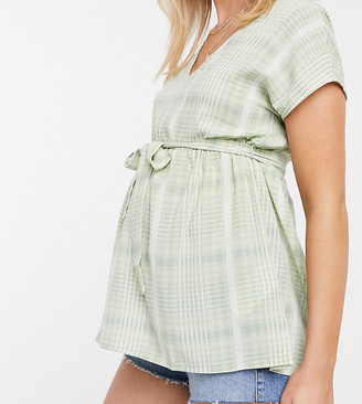 Mama Licious Mamalicious Maternity v neck blouse with removeable tie waist in green check