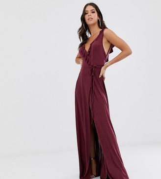 Asos Tall DESIGN Tall ruffle wrap maxi dress with tie detail-Purple
