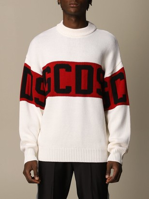 GCDS Sweater Pullover In Wool Blend With Logo