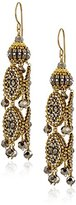 Miguel Ases Large Pyrite 3-D Byzantine Drop Earrings