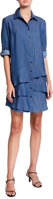 Finley Jenna Lyocell Denim Tiered Ruffle Shirtdress