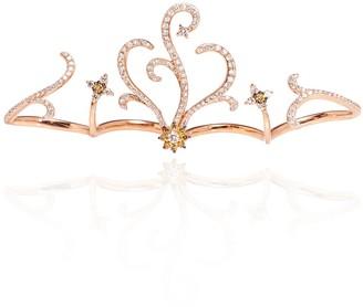 Berkeley 18K Rose Gold 4 Finger Ring With 1.07Ct White Diamond & 0.17Ct Brown Diamond
