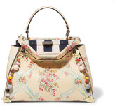Fendi Peekaboo Medium Appliquéd Floral-print Leather Tote - Ivory