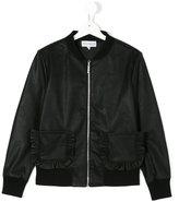 Simonetta leather style frill pocket jacket - kids - Polyester/Polyurethane/Spandex/Elastane/Viscose - 15 yrs
