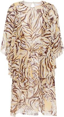 See by Chloe Ruffled Tiger-print Silk-chiffon Mini Dress