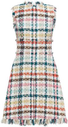 Oscar de la Renta Frayed Checked Cotton-blend Tweed Mini Dress
