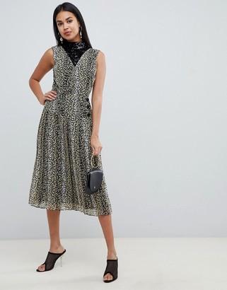 Asos Design DESIGN sequin mix leopard print pleated midi dress-Multi
