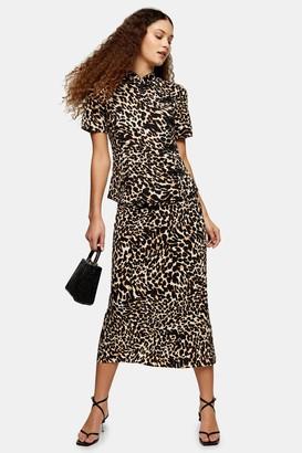 Topshop Womens Leopard Print Bias Midi Skirt - True Leopard