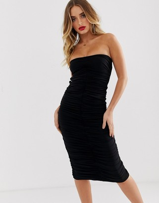 Aym Studio AYM premium ruched bodycon midaxi dress with lace up back in black
