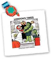 3dRose LLC qs_2154_1 Londons Times Funny Music Cartoons - Green Giant s Wedding - Quilt Squares