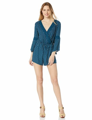 Jessica Simpson Women's Perri Tie Synched Waist Bell Sleeve Romper