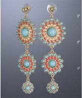turquoise and coral round drop earrings
