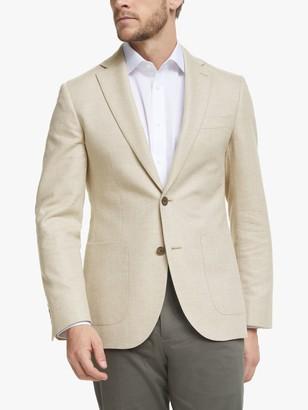 John Lewis & Partners Wool Cotton Cashmere Herringbone Blazer, Sand