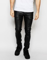Asos Super Skinny Jeans In Coated Black